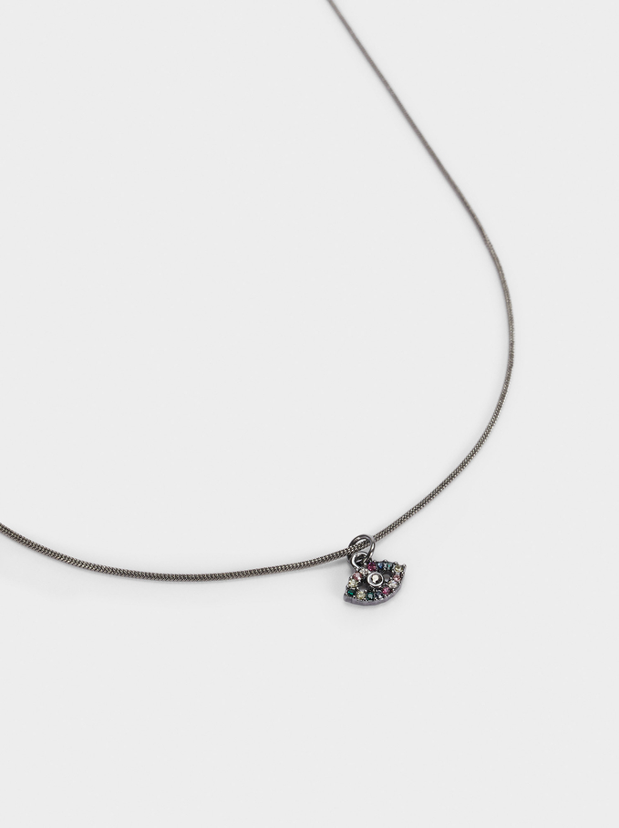 Short Necklace With Eye, Multicolor, hi-res
