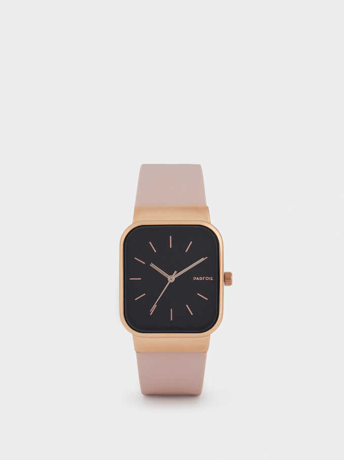 Watch With Silicone Strap And A Square Face, Pink, hi-res