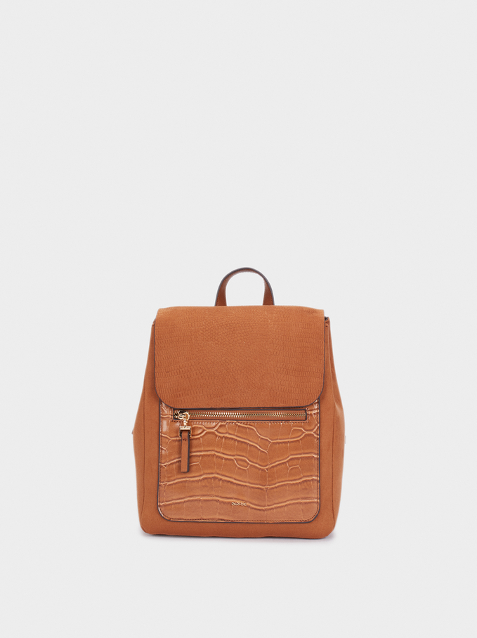 Fake Suede And Animal Skin Backpack, Camel, hi-res