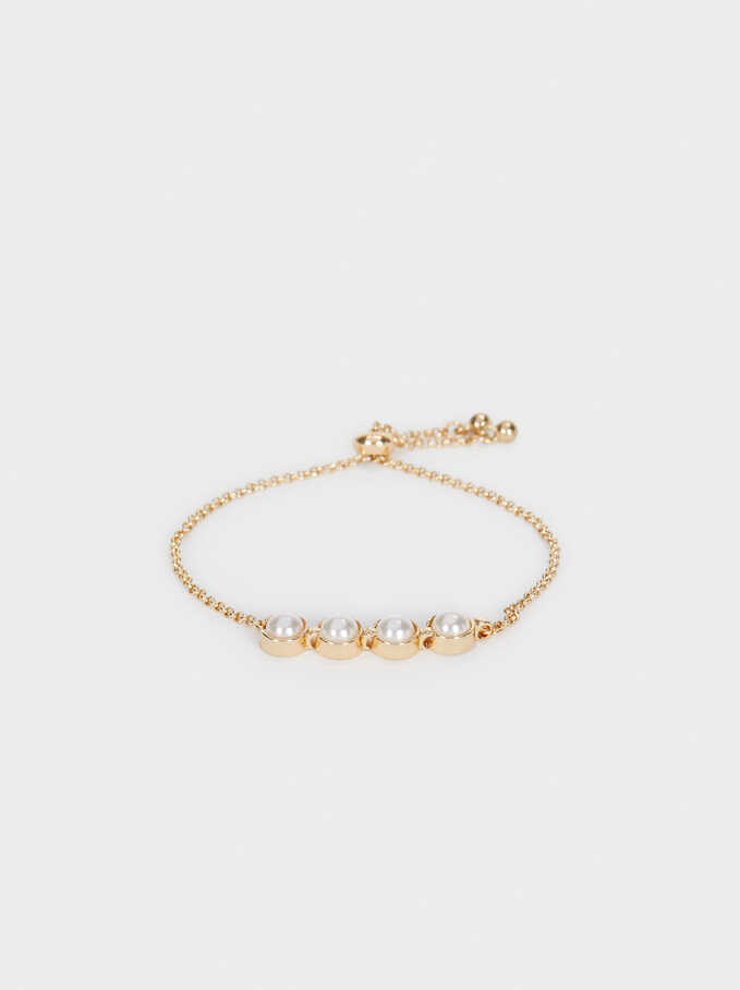 Adjustable Gold Bracelet With Bead Detail, Golden, hi-res
