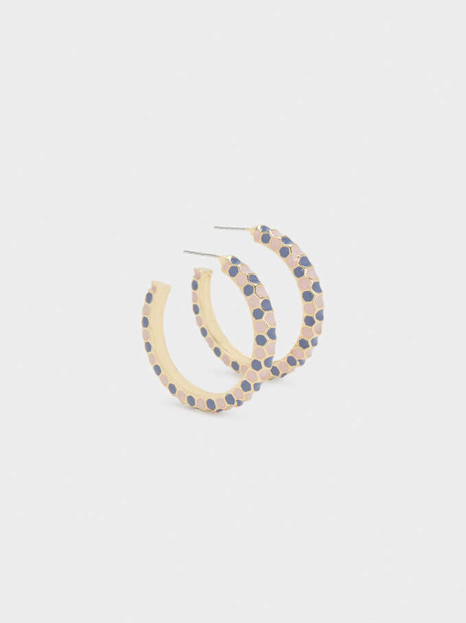 Medium Hoop Earrings With Multicoloured Enamel Detail, Multicolor, hi-res