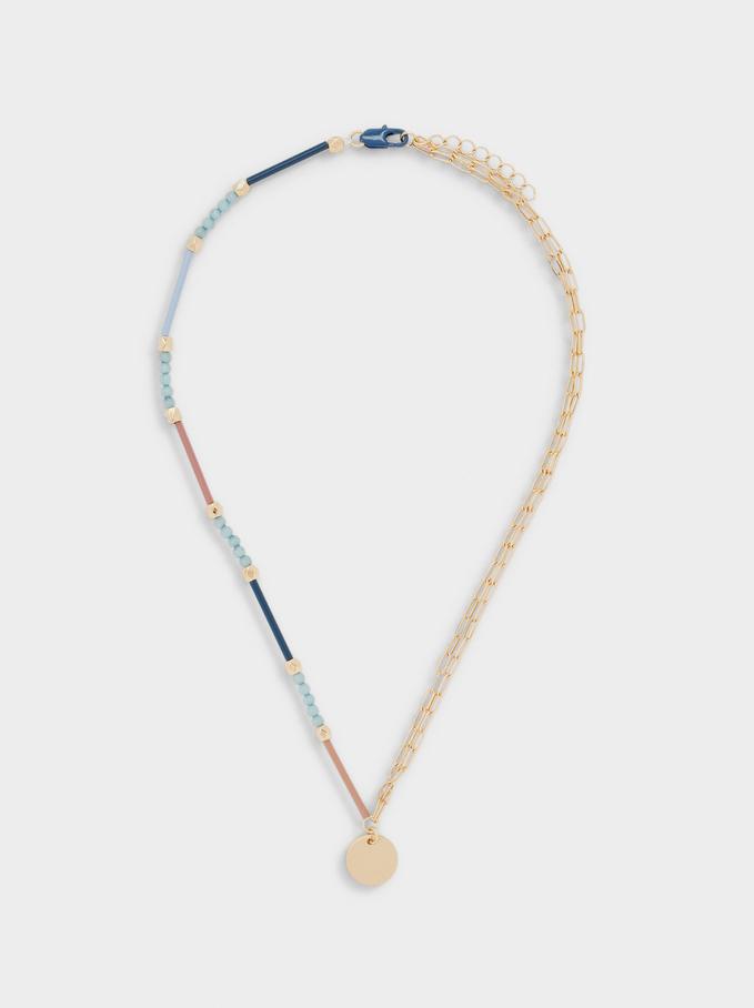 Collana Corta Con Pietra E Perline, Multicolore, hi-res