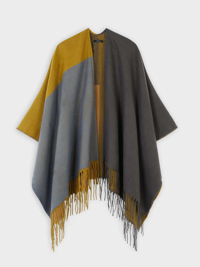 Multicoloured Print Poncho, Khaki, hi-res