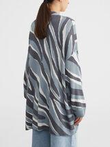 Printed Knit Kimono, Ecru, hi-res