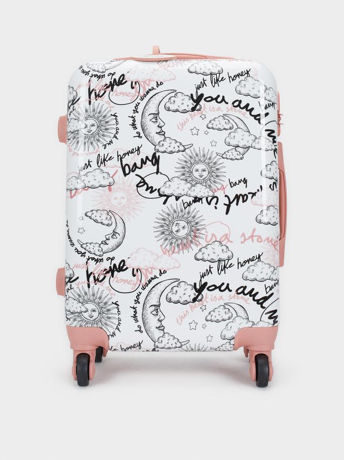 Printed Trolley Suitcase, Pink, hi-res