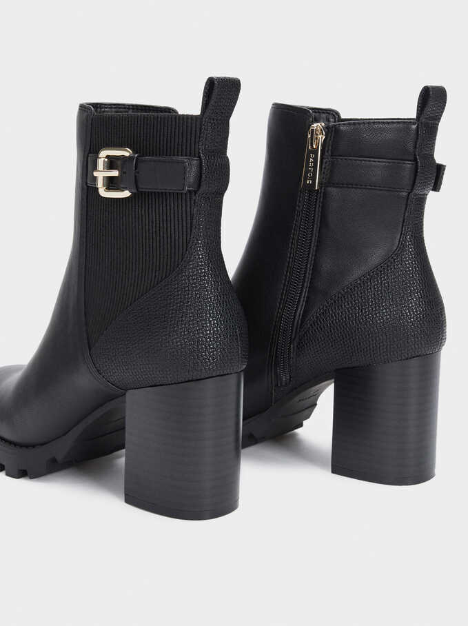 High-Heel Ankle Boots With Elastic Side Tabs And Buckles, Black, hi-res