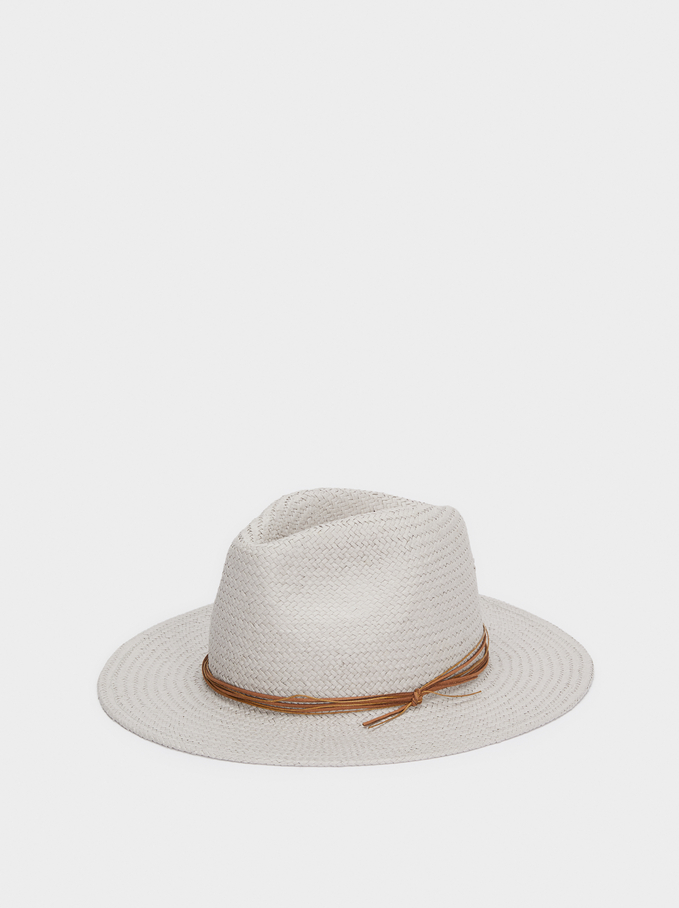 Textured Raffia Hat, Grey, hi-res