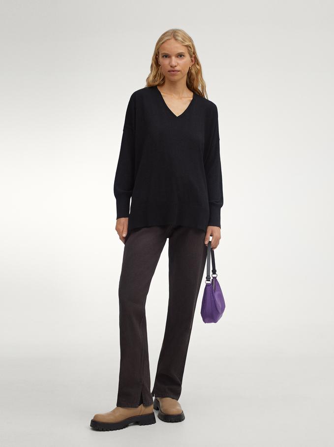 Knitted V-Neck Sweater, Black, hi-res