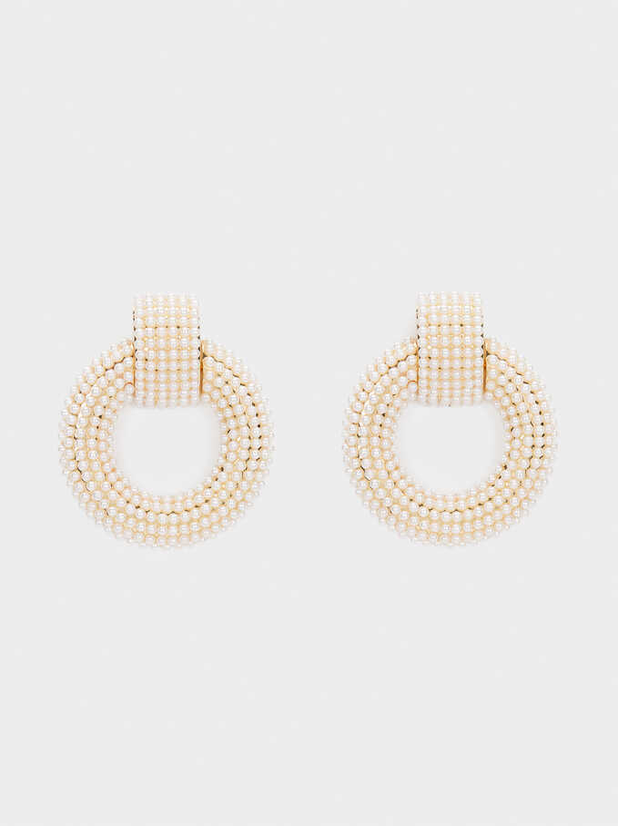 Long Pearl Earrings, White, hi-res