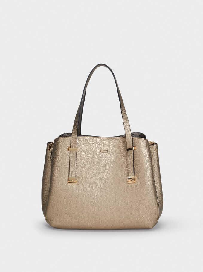 Embossed Tote Bag, Golden, hi-res