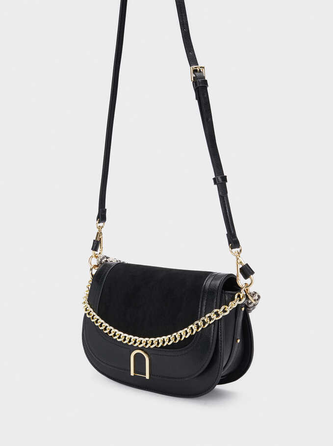 Crossbody Bag With Embossed Snakeskin Handle, Black, hi-res