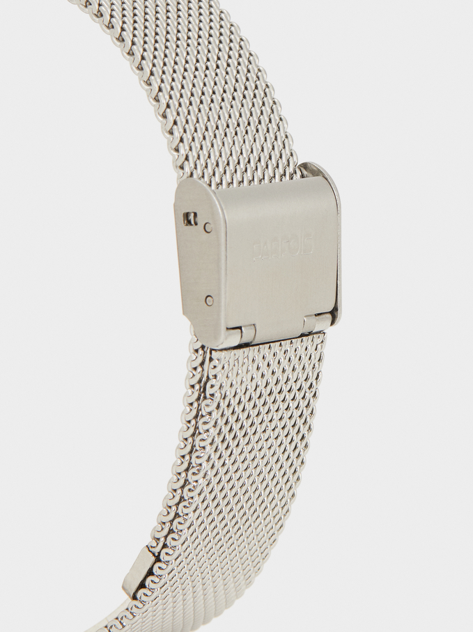 Watch With Metallic Mesh Wristband, Silver, hi-res