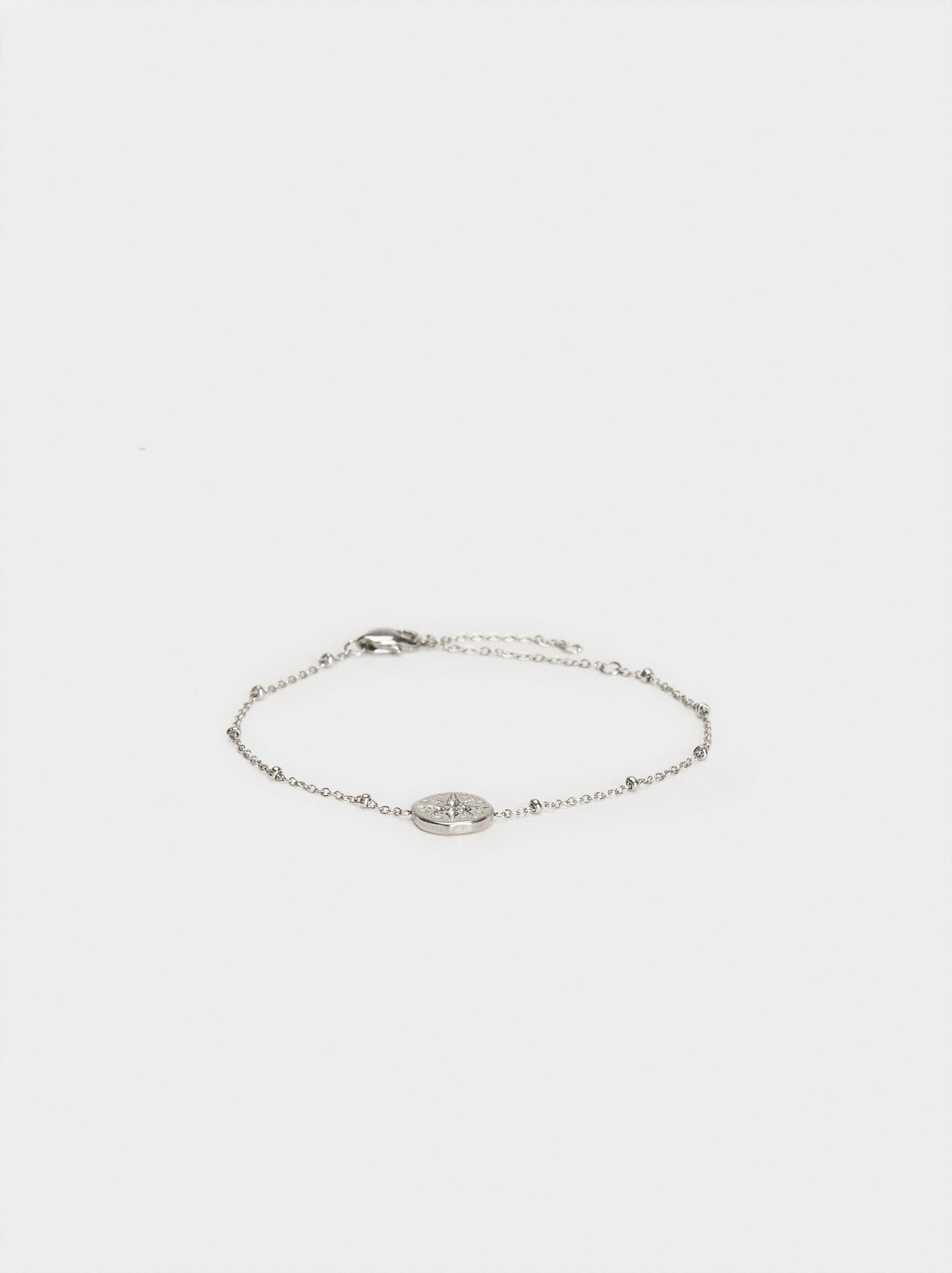 Stainless Steel Bracelet With Medal Charm, Silver, hi-res