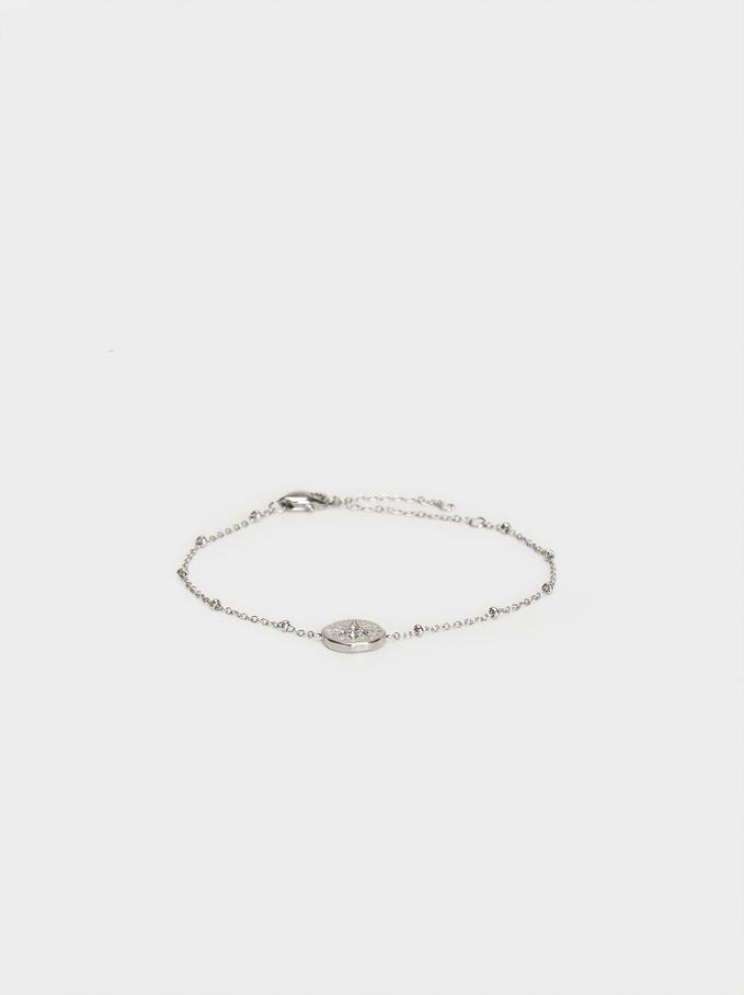 Steel Medallion Bracelet, Silver, hi-res