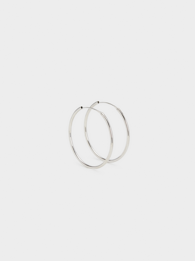 925 Sterling Silver & Gold Plated Short Hoop-Earri, Silver, hi-res