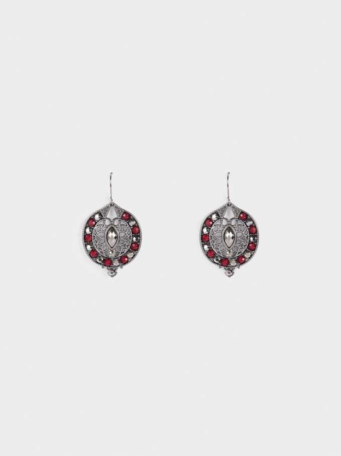 Earrings With Beads, Bordeaux, hi-res