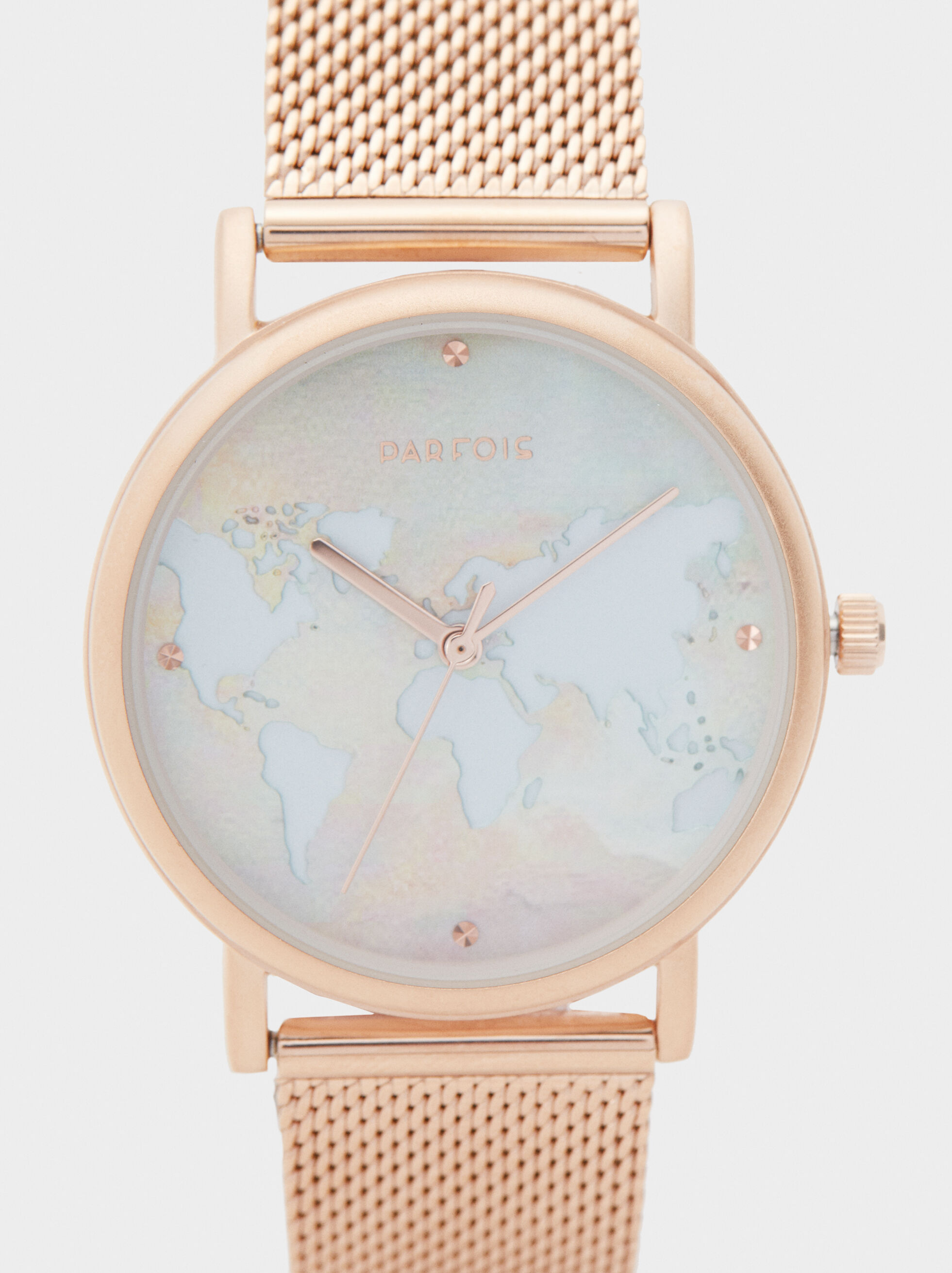 Watch With World Map Face, Orange, hi-res