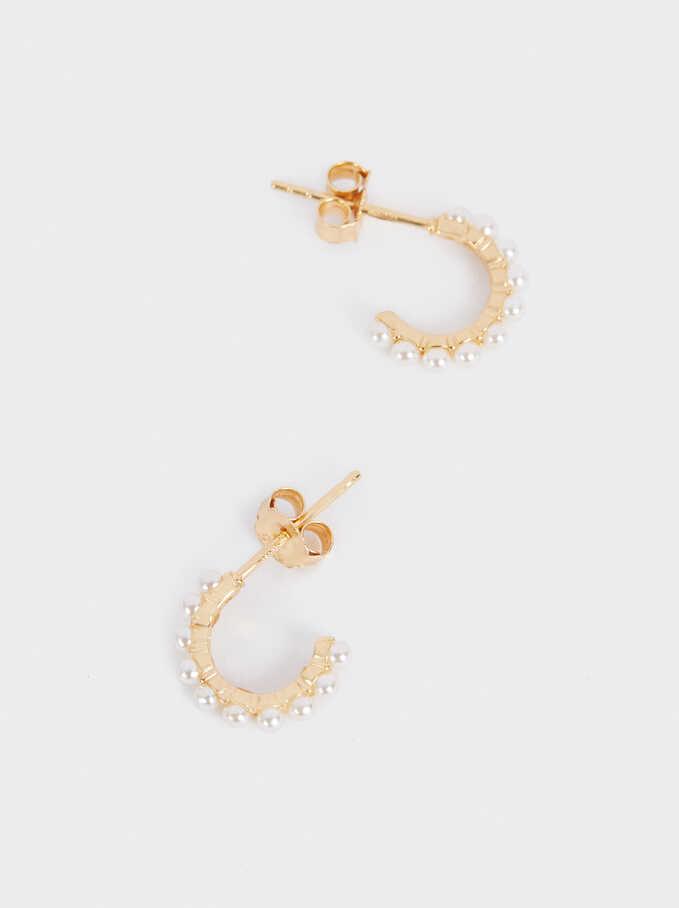 Pendientes De Aro Cortos De Plata 925 Con Perlas, Beige, hi-res