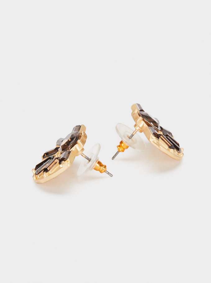 Short Geometric Earrings, Brown, hi-res