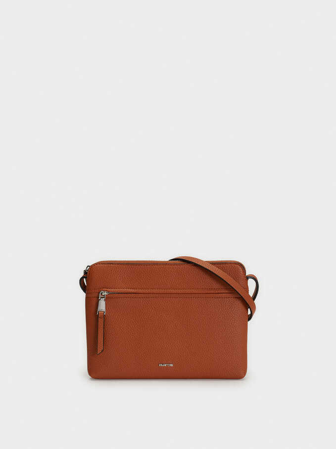 Shoulder Bag With Outer Pocket, Camel, hi-res