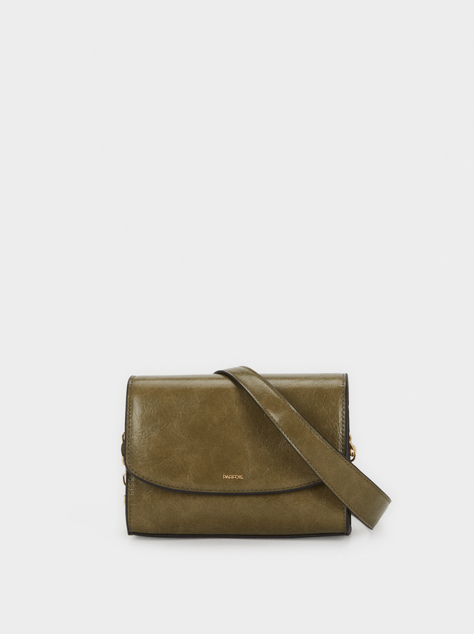 Cross Body Bag With Chain Strap, Khaki, hi-res
