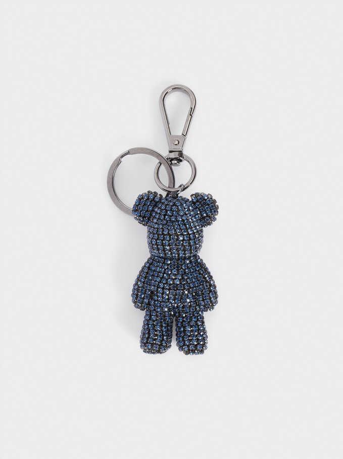 Bear Key Ring, Blue, hi-res