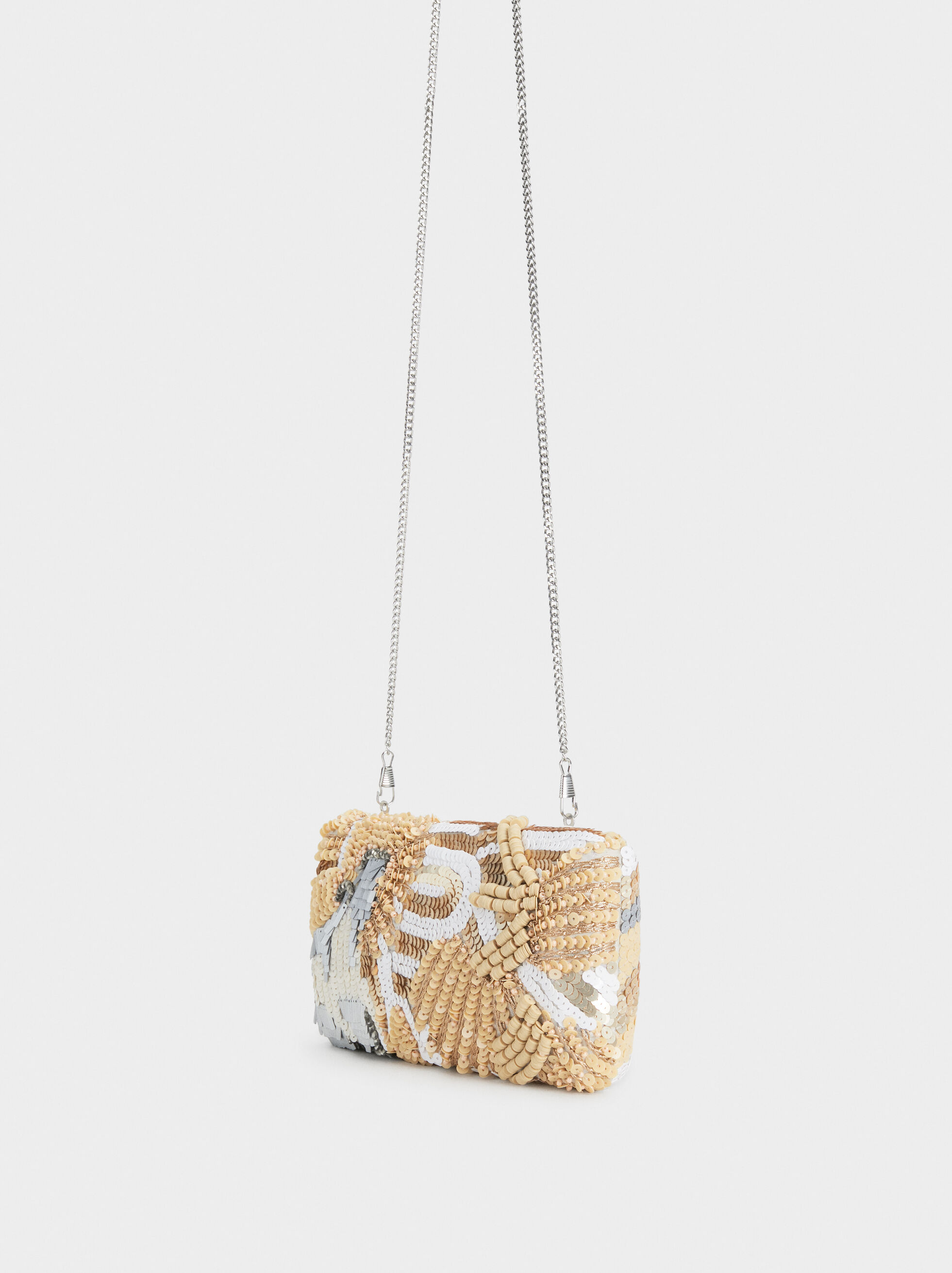 Beaded Party Clutch, Beige, hi-res