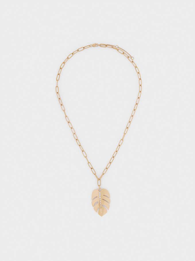 Short Stainless Steel Leaf Necklace, Golden, hi-res