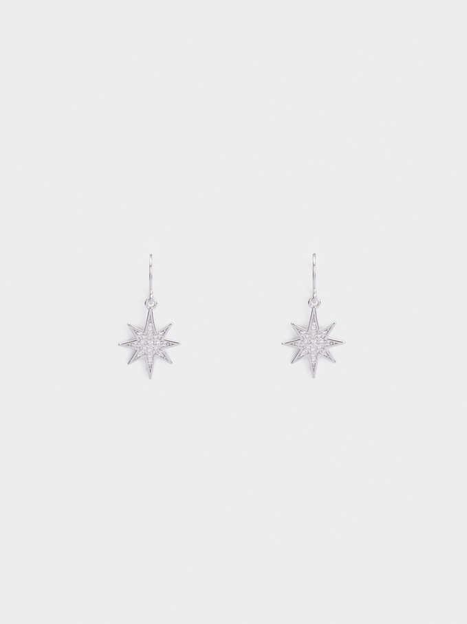 Medium 925 Silver Star Earrings, Silver, hi-res