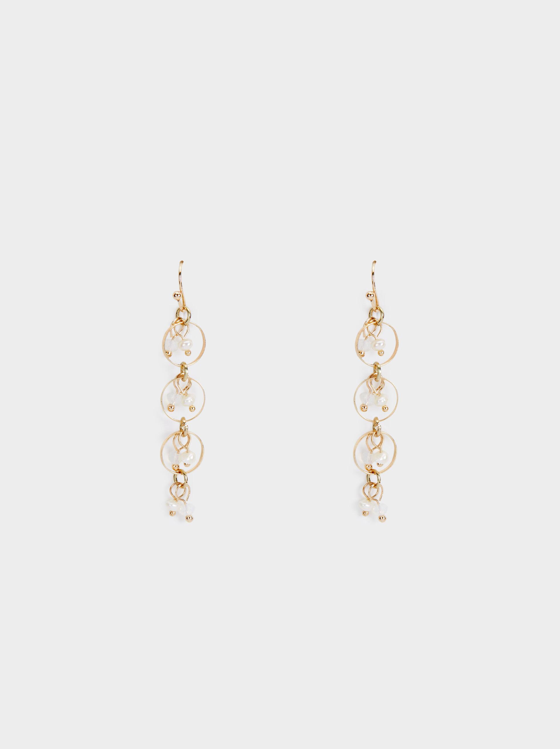 Long Faux Pearl Earrings, , hi-res
