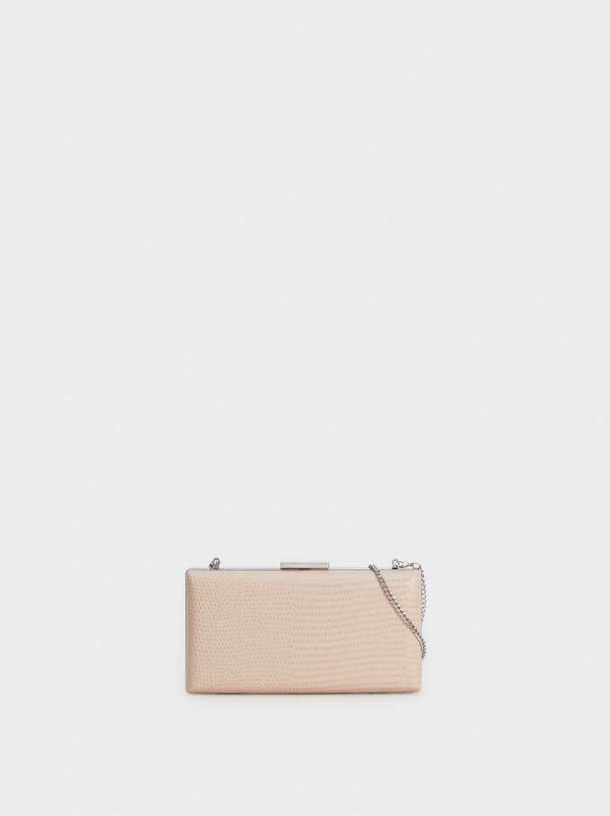 Embossed Snakeskin-Effect Evening Clutch, Pink, hi-res