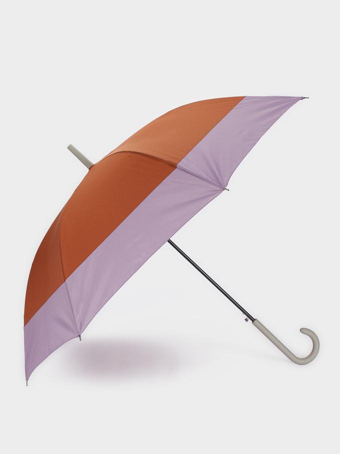 Paraguas Plegable Grande Bicolor, Marrón, hi-res