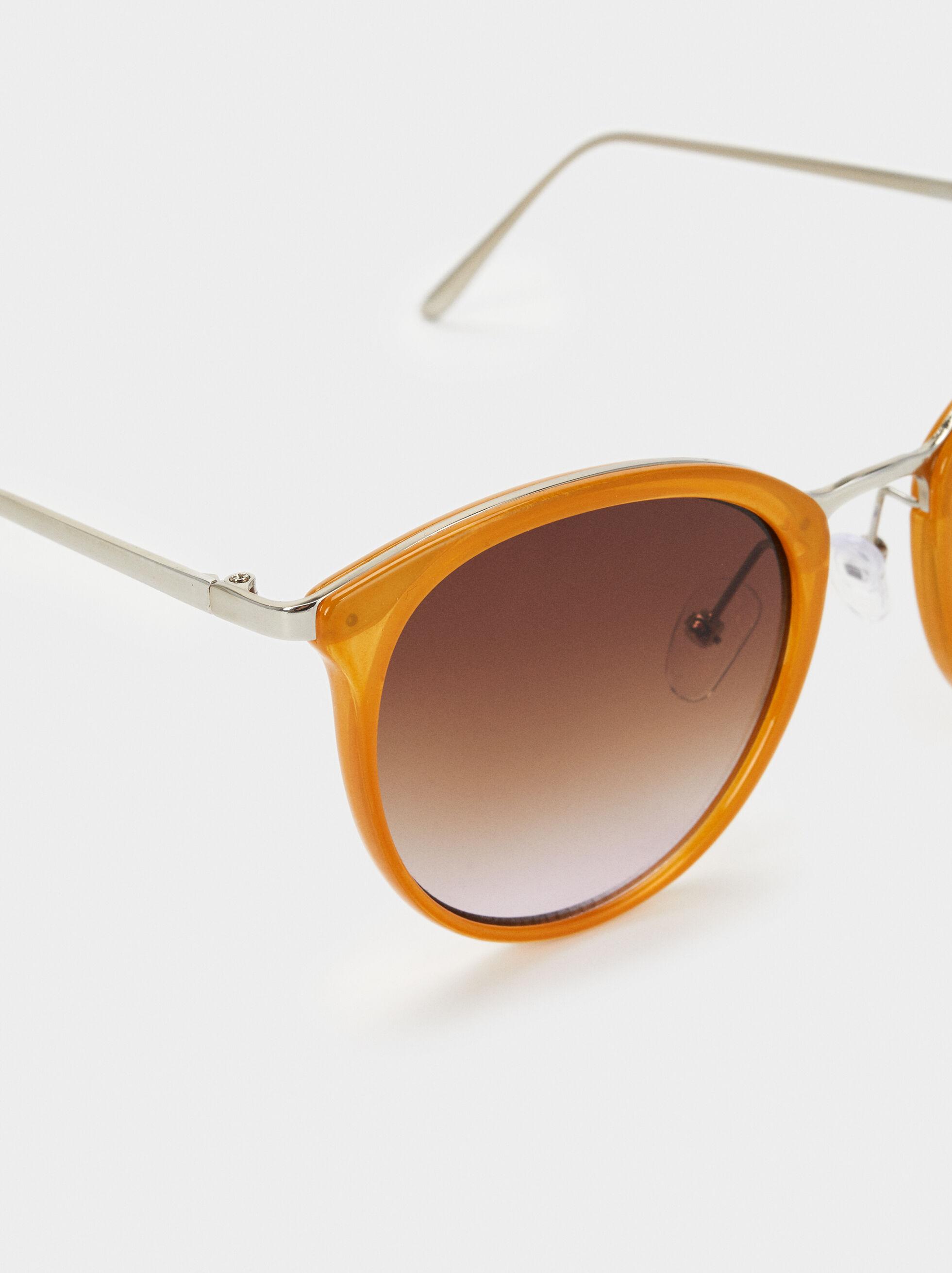 Óculos De Sol Redondos, Camel, hi-res