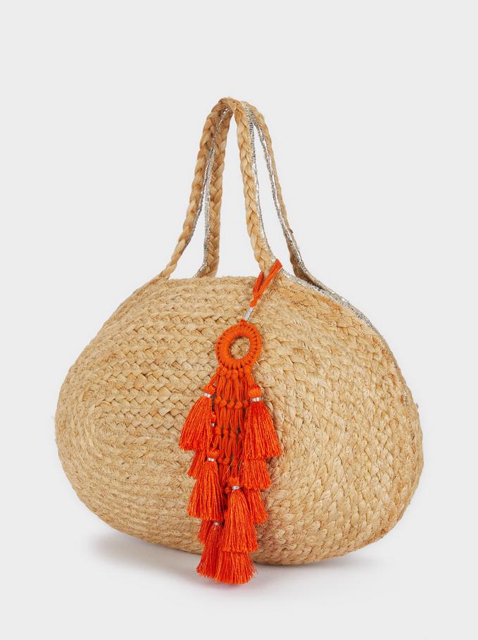 Raffia Textured Tote Bag, Beige, hi-res