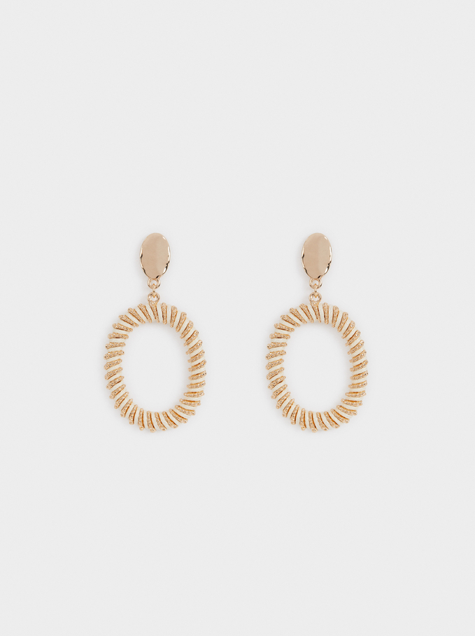 Earrings With Raised Effect, Ecru, hi-res