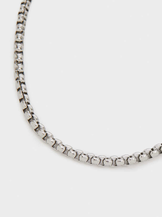 Short Silver-Plated Stainless Steel Chain Necklace, Silver, hi-res