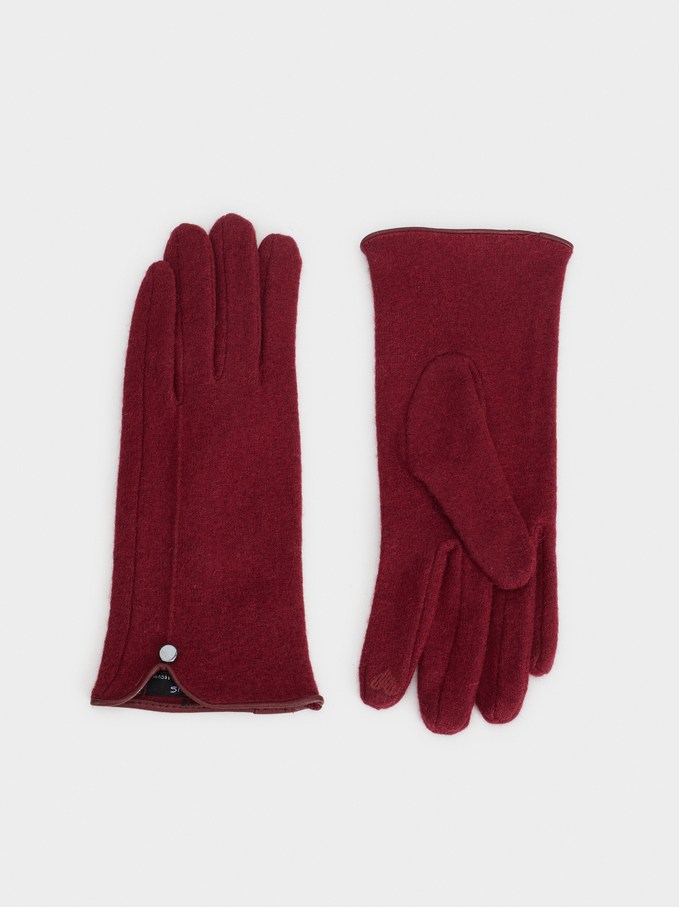 Wool Gloves With Heart Detail, Bordeaux, hi-res