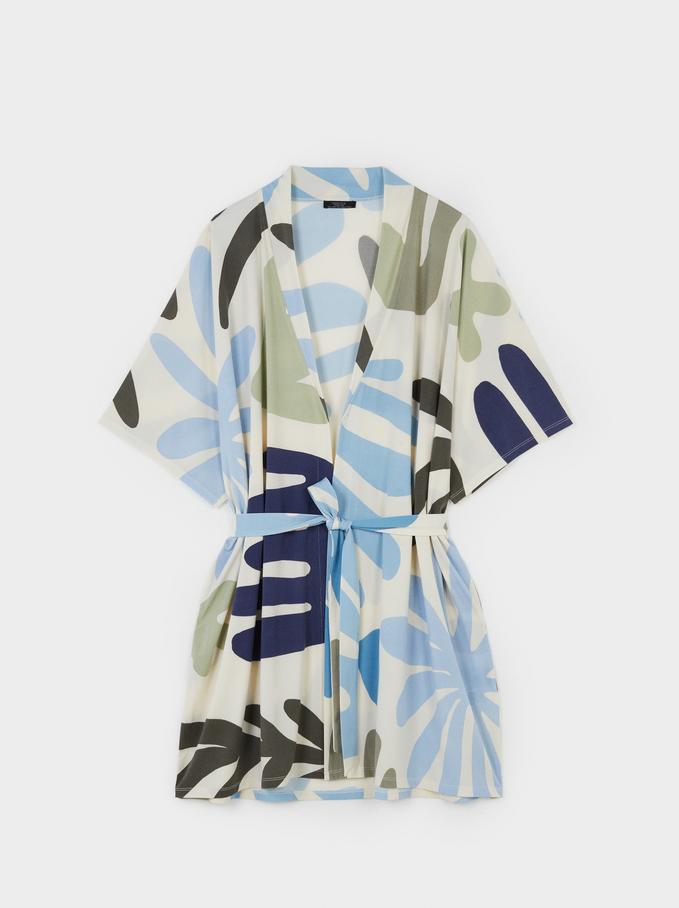 Wzorzyste Kimono Z Lejacego Materialu, Bialy, hi-res