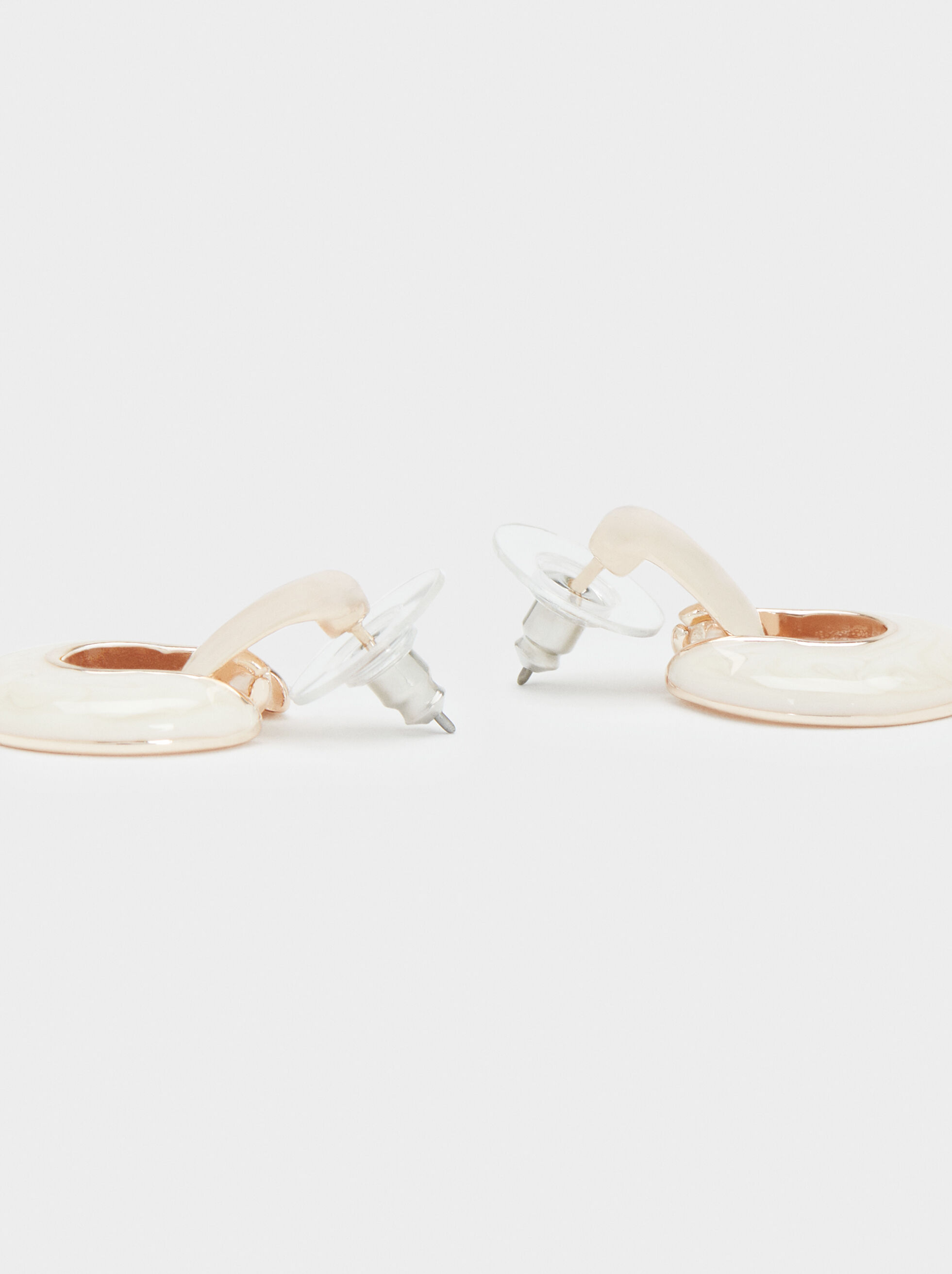 Boucles D'Oreilles Courtes En Or Rose, Orange, hi-res
