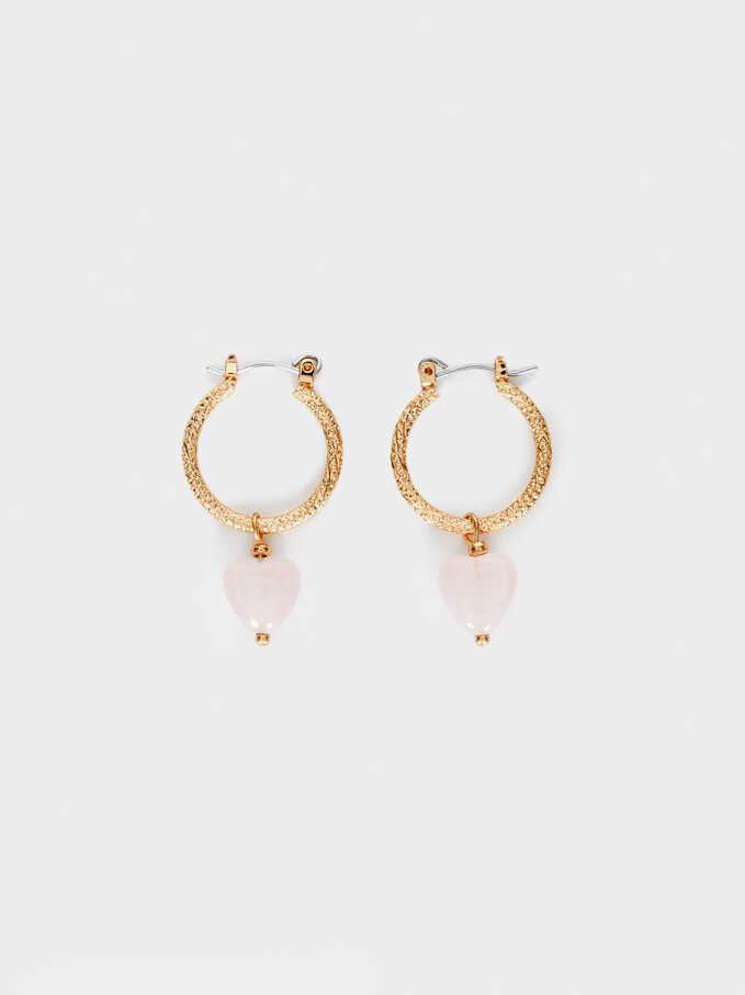 Pink Hoop Earrings With Stone Hearts, Green, hi-res
