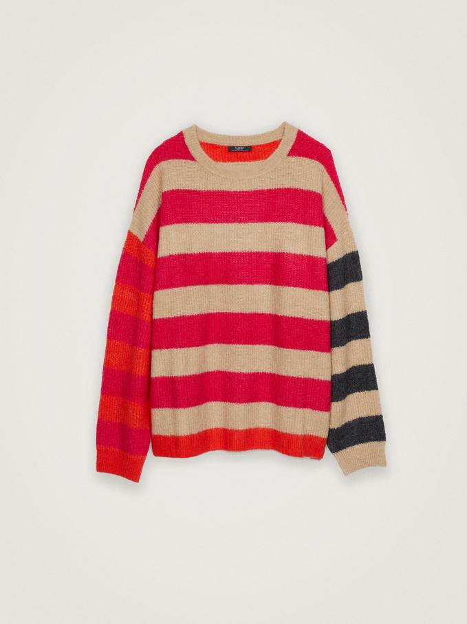 Striped-Print Knitted Sweater, Ecru, hi-res
