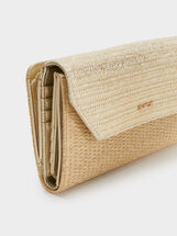 Faux Raffia Purse, Golden, hi-res
