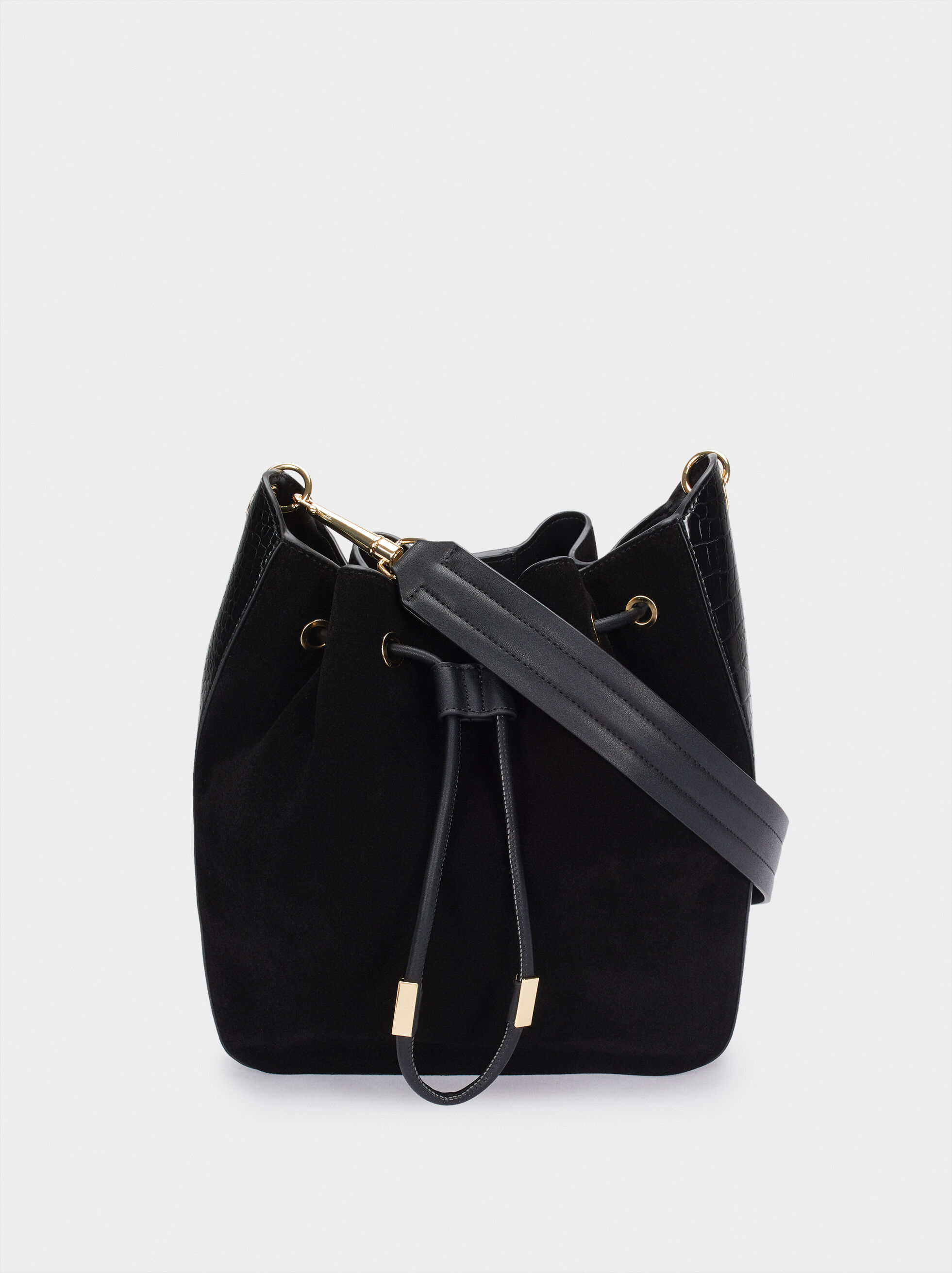 Suede Shoulder Bag With Contrasting Details, , hi-res