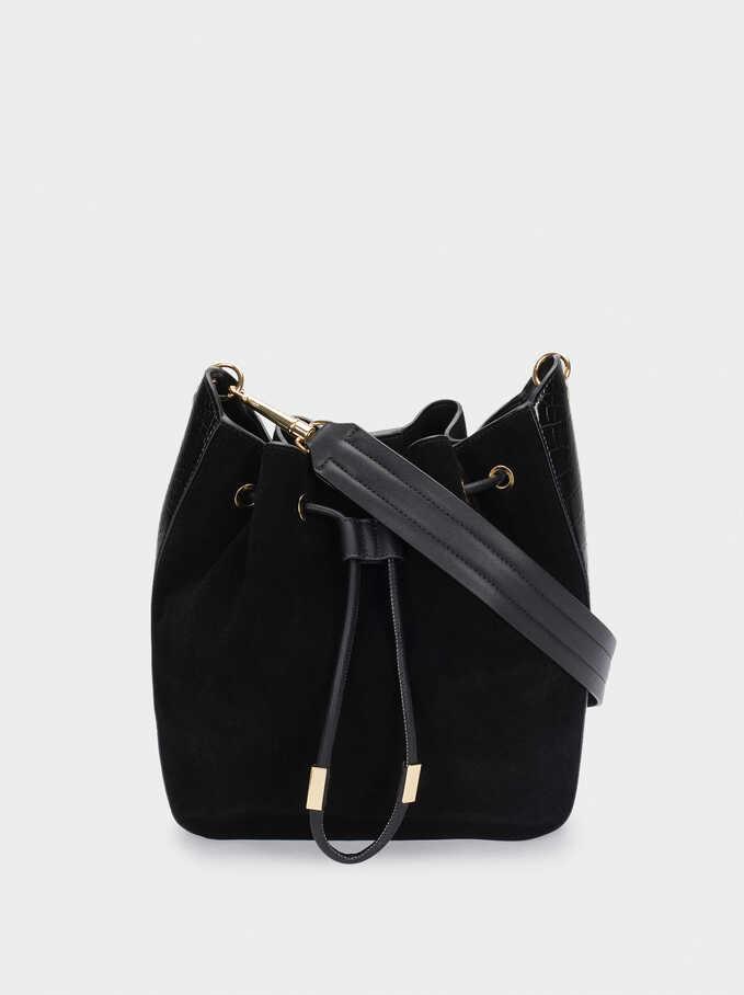 Suede Shoulder Bag With Contrasting Details, Black, hi-res