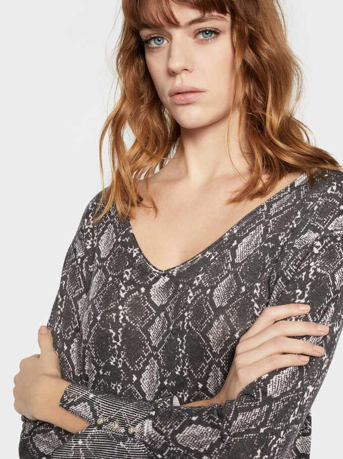 Snake Print Sweater, Beige, hi-res