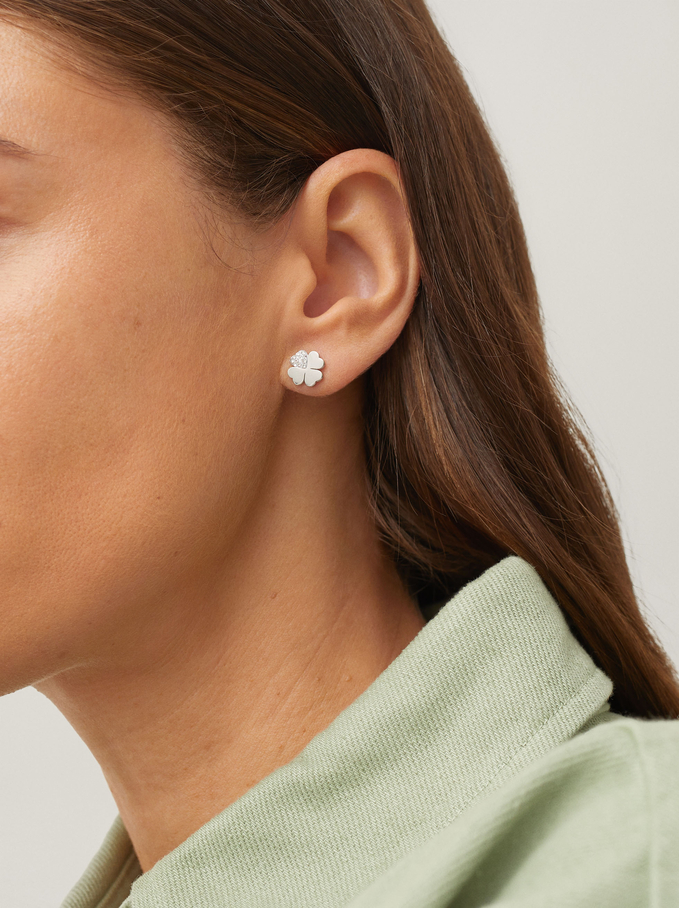 Steel Studs With Shamrock, Silver, hi-res