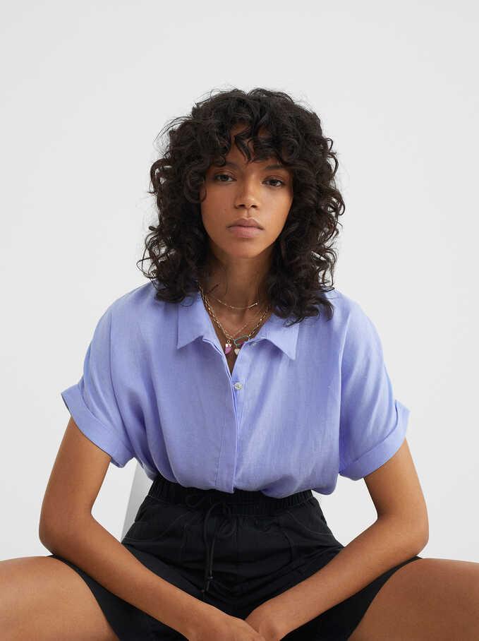 Camisa Oversize, Azul, hi-res