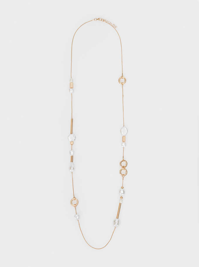 Long Gold Faux Pearl Necklace, Golden, hi-res