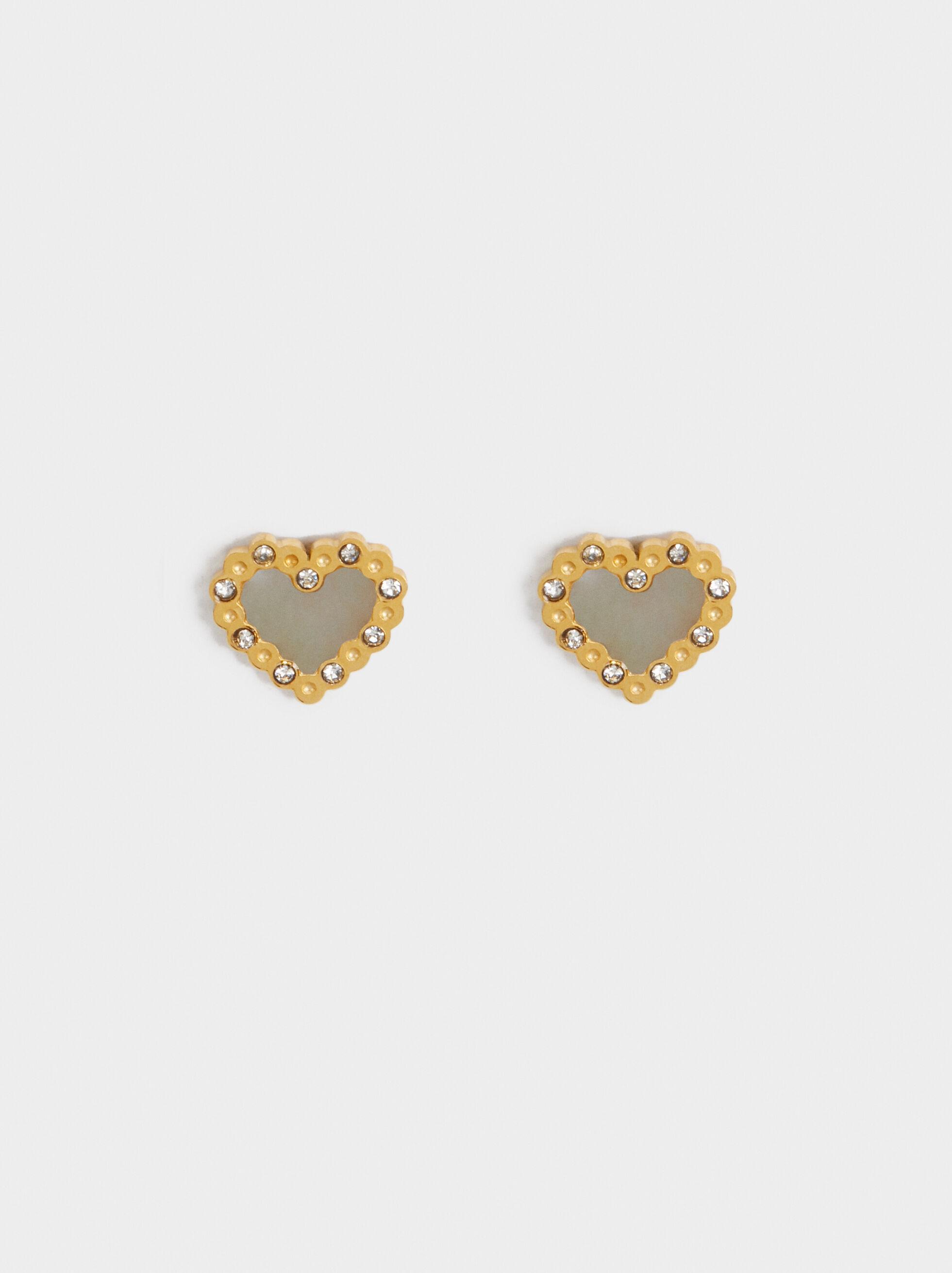 Steel Heart Earrings, , hi-res