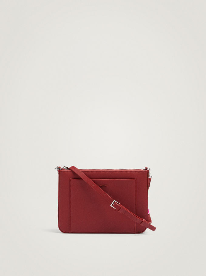 Crossbody Bag With Outer Pocket, Brick Red, hi-res